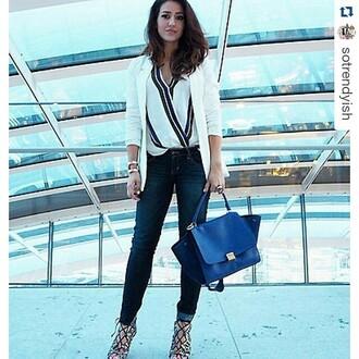 shirt trendyish blouse work stripes draped summer fashion blogger