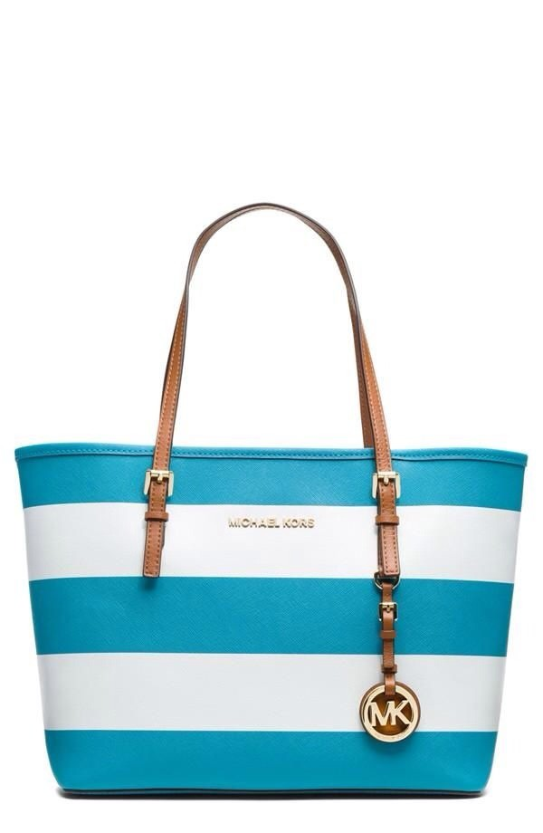 bag aqua michael kors tote bag stripes