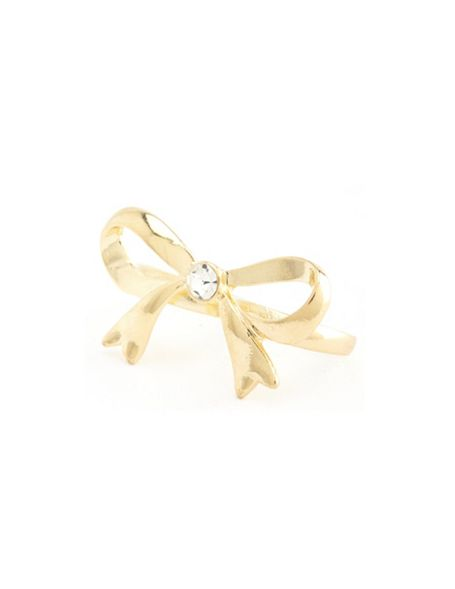 Metallic bow double ring: charlotte russe