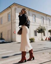 shoes,boots,leather boots,high heels boots,knee high boots,midi dress,knitted dress,black jacket,jacket,crossbody bag