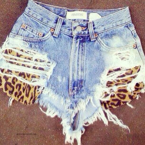 1c410cad8bc7f shorts, leopard print, blue jean shorts, denim shorts, printed ...