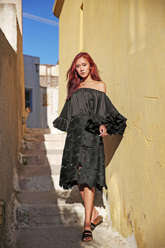 camille tries to blogger jewels shoes off the shoulder long sleeves black dress lace dress mesh dress mini dress summer dress lace skirt midi skirt black skirt off the shoulder top black top ruffled top bell sleeves bell sleeve top slide shoes black off shoulder top