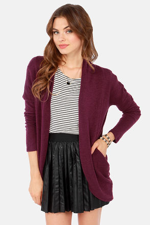 Cute Purple Sweater - Cardigan Sweater - Knit Sweater - $38.00
