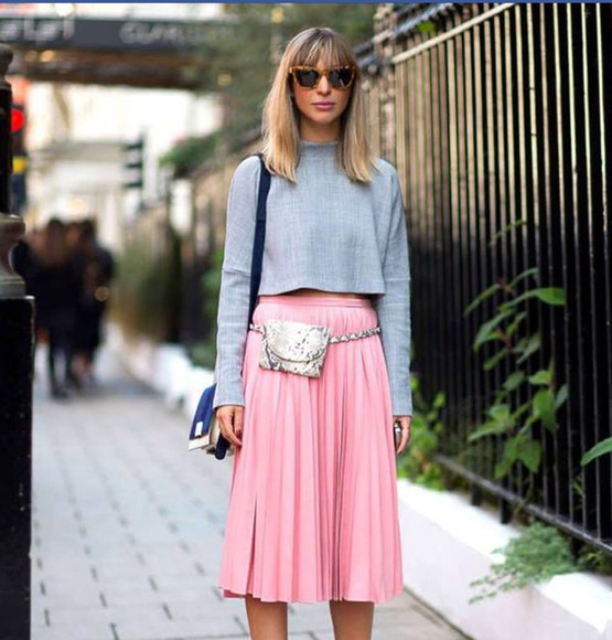 midi skirt pink skirt pleated skirt