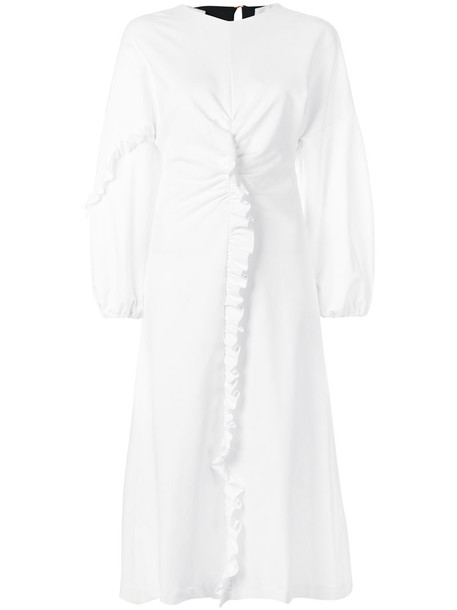 Tibi dress ruffle women spandex white knit
