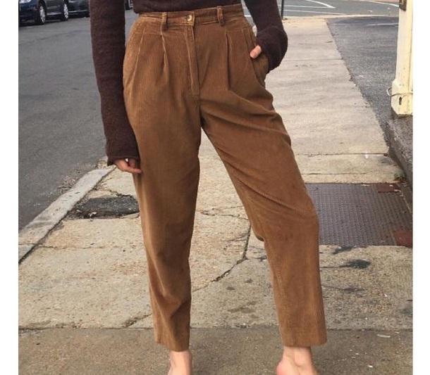 pants vintage pants caramel brown curduroy
