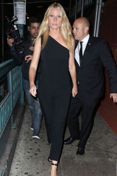 jumpsuit,one shoulder,gwyneth paltrow,sandals,black,shoes