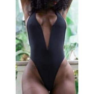swimwear black black swimwear plunge v neck plunge neckline bodysuit black bodysuit