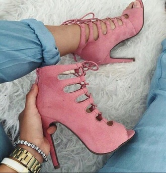 shoes dusty pink heels lace up