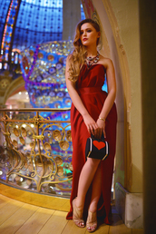 kayture,blogger,bustier dress,red dress,heart,slit dress,evening dress,dress,bag,jewels,best accessories by kayture