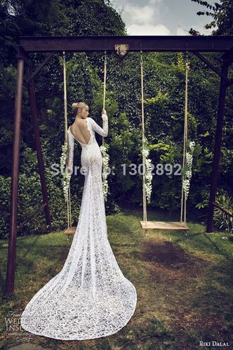 backless lace wedding dress bridal gown long train