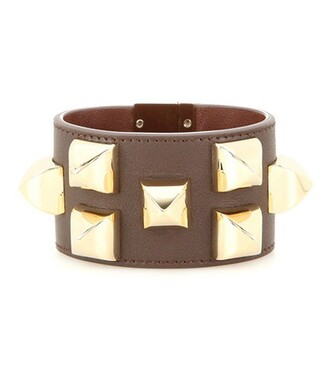 studded leather brown jewels