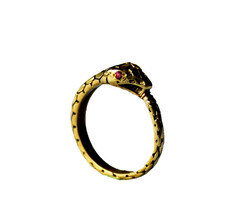 der-liebling — snake ring w/ ruby eyes