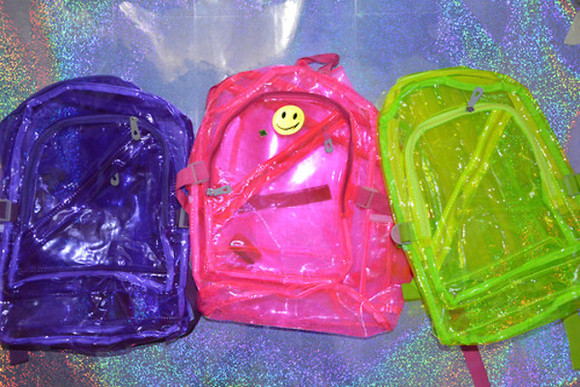 90s bag pink smiley face transparent  bag early 2000s neon