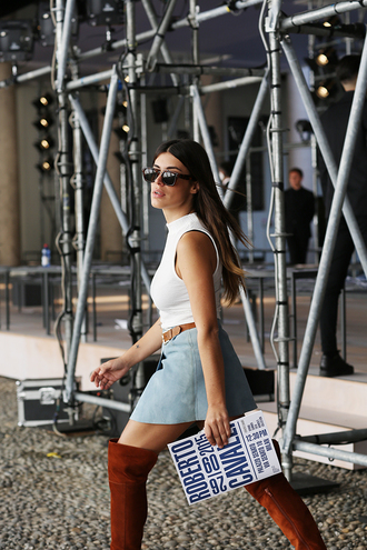dulceida blogger denim skirt suede boots