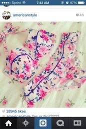 swimwear,floral swimwear,floral,cute,nude,pink,roses,bikini,ruffle,ruffled bikini