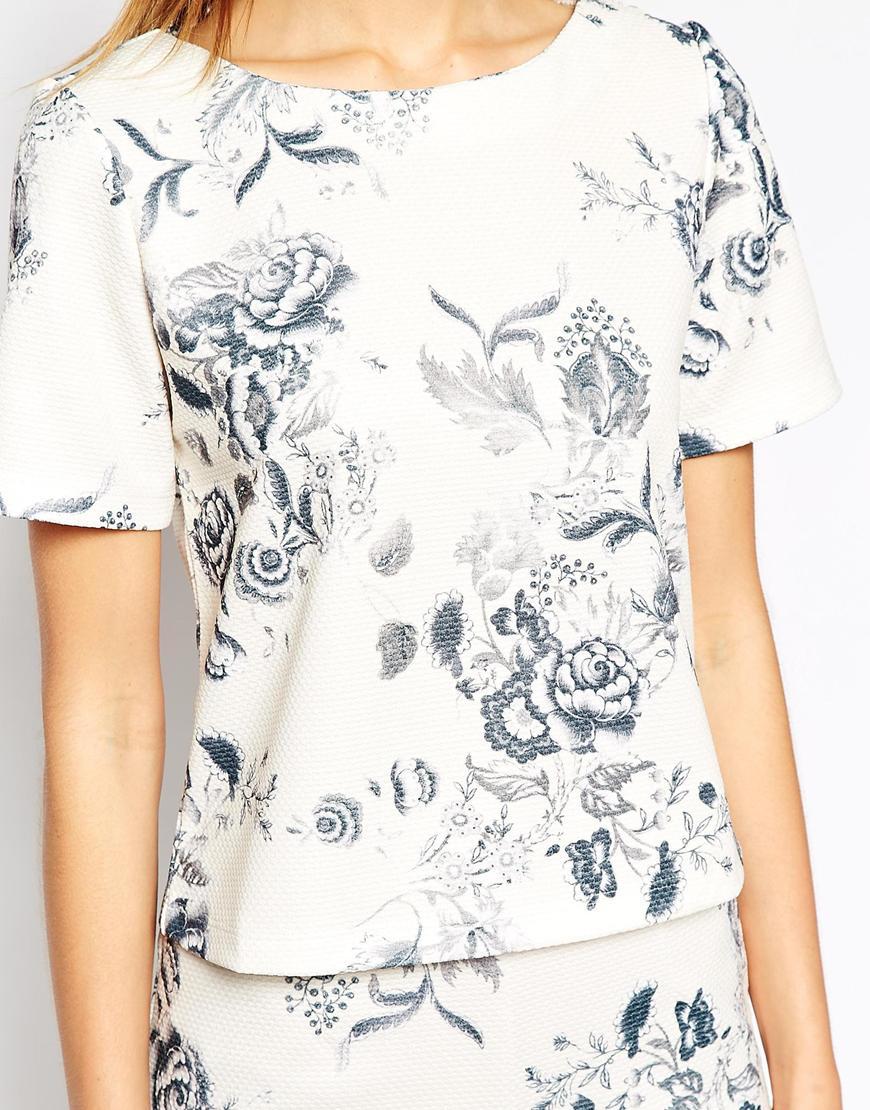 Warehouse Drawn Floral Print Co-Ord Top at asos.com