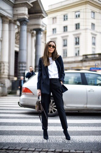 pants tumblr black pants boots black boots top white top blazer blue blazer sunglasses office outfits