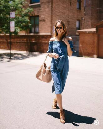 dress tumblr dress tumblr denim denim dress off the shoulder off the shoulder dress midi dress sandals wedges wedge sandals bag nude bag shoes work outfits office outfits