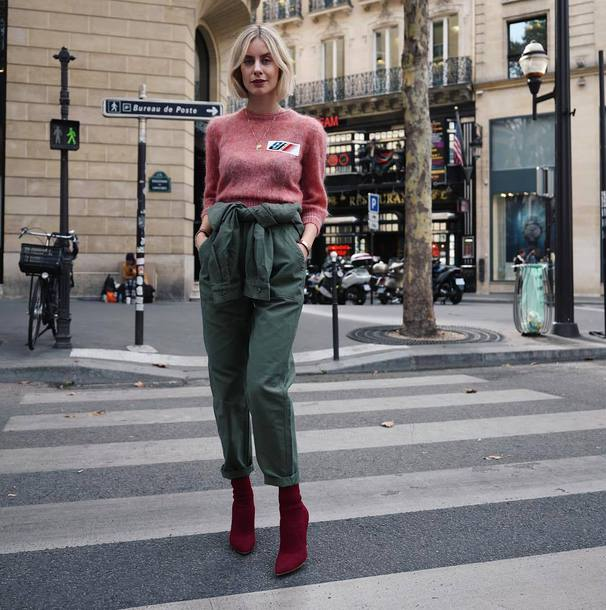 jumpsuit long sleeves sweater sock boots high heels boots olive green