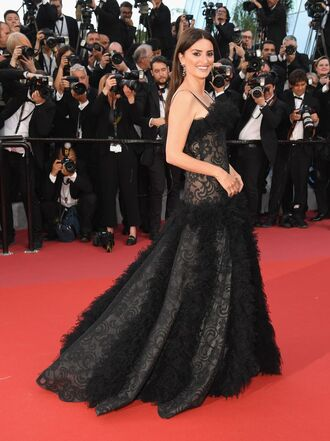 dress gown prom dress long dress penelope cruz cannes red carpet dress black dress