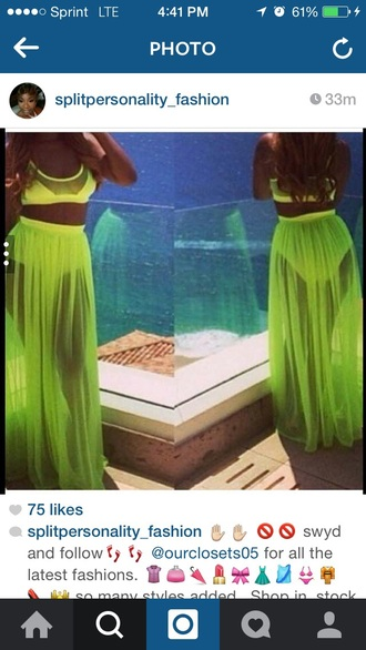 skirt white or neon green sheer crop tops swimwear