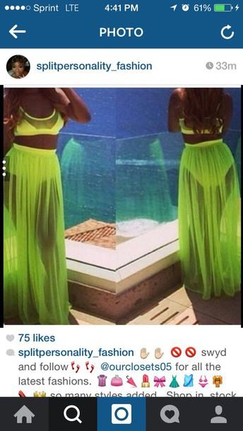 skirt white or neon green sheer crop tops swimwear