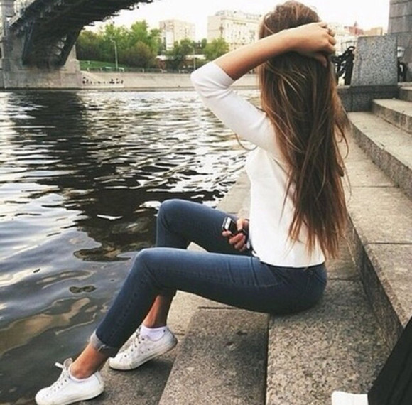 girly sweet white shoes pullover