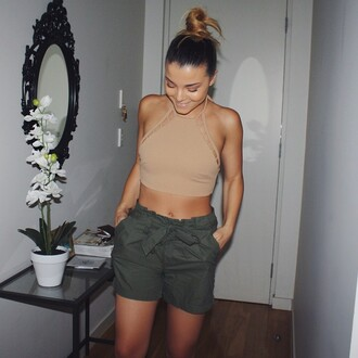top t-shirt tank top tank top.  crop top beije tanks top shorts short green shorts