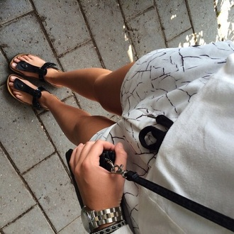 shorts white black print pattern outfit tie marble crack sandals bag shirt summer style fashion birkenstocks