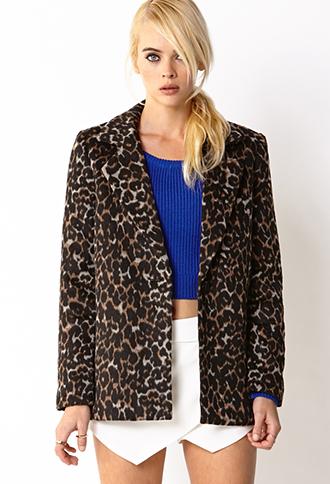 Leopard Print Pea Coat | FOREVER21 - 2059003055