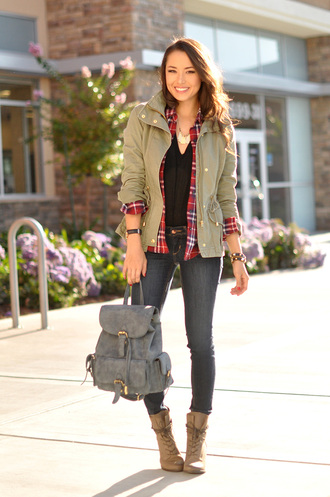 hapa time blogger jacket top bag shoes jewels army green jacket flannel shirt flannel leather backpack boots fall outfits cardigan blouse college