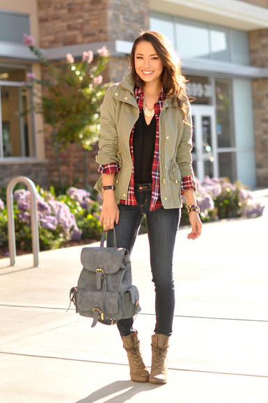 hapa time blouse shoes bag top jewels blogger jacket army green jacket flannel shirt flannel leather backpack boots fall outfits cardigan
