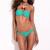 Aqua Green Jungle Jewel Bandeau Mild Push-Up Bikini Set | Emprada