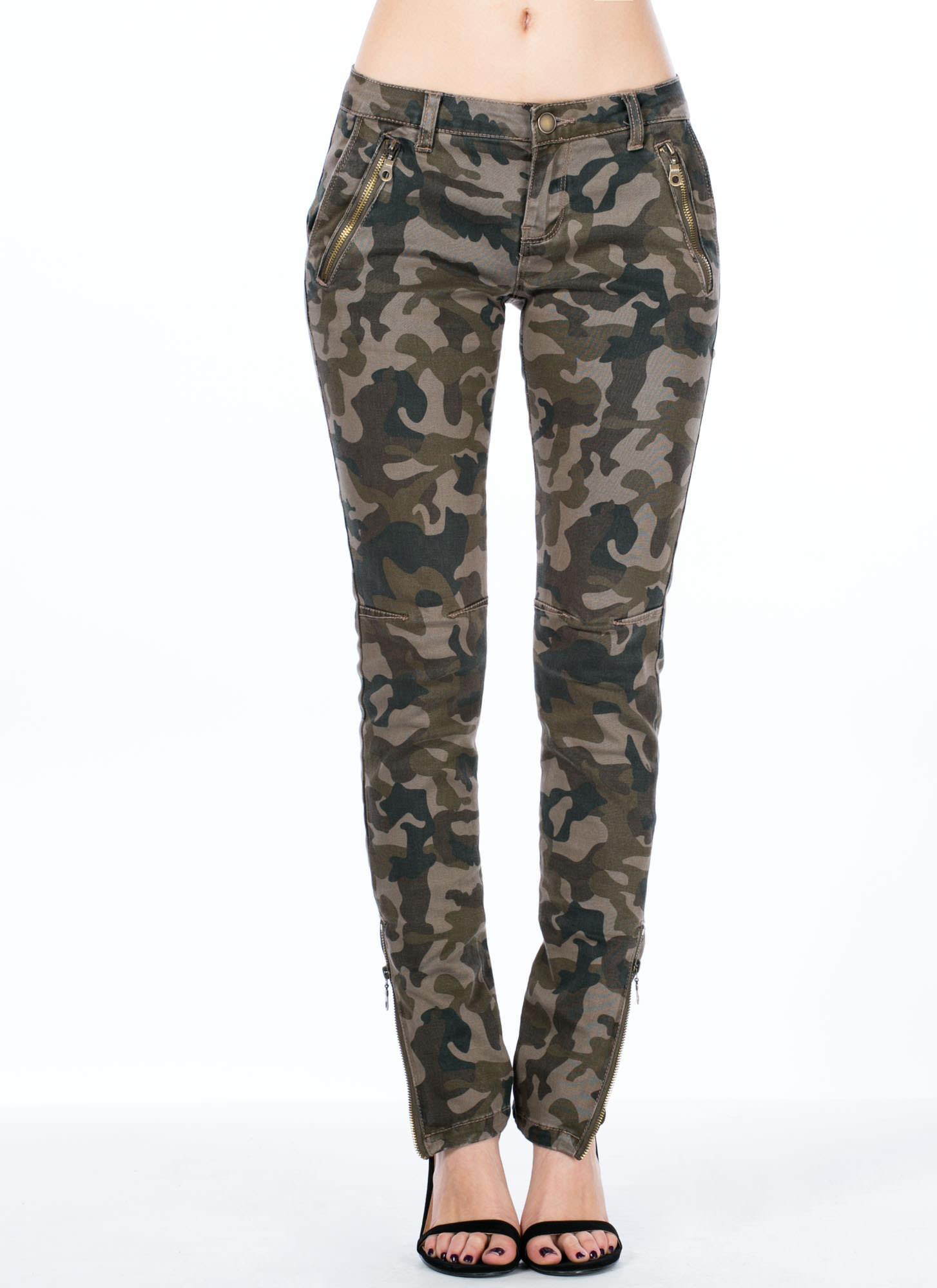 In Camo Zipper Accent Pants GoJane.com