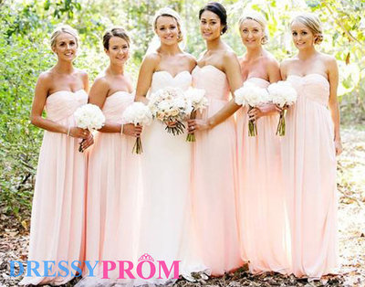 Gorgeous Romantic Princess/A-line Sweetheart Ruched Long Pink Chiffon Long Affordable Bridesmaid Dresses Under 100 On Sale 8151 · DressyProm · Online Store Powered by Storenvy
