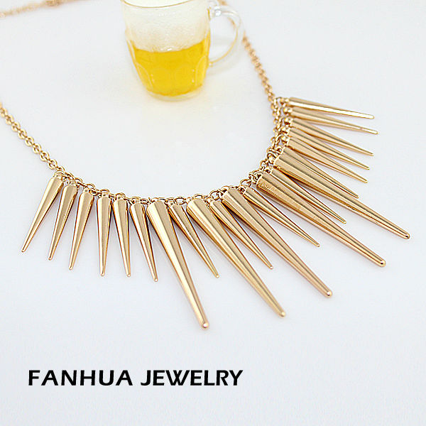 New 2014 Fashion Individual New Style Gold and Silver Color Alloy Exaggerate Spikes Punk Necklace for Women-in Pendant Necklaces from Jewelry on Aliexpress.com
