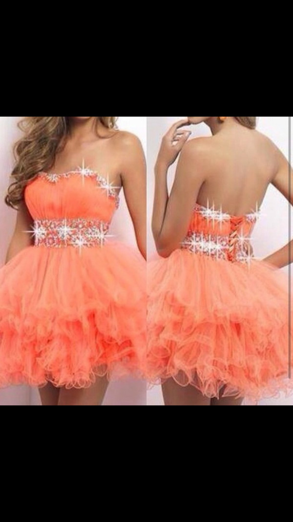 prom dress short dress orange dress