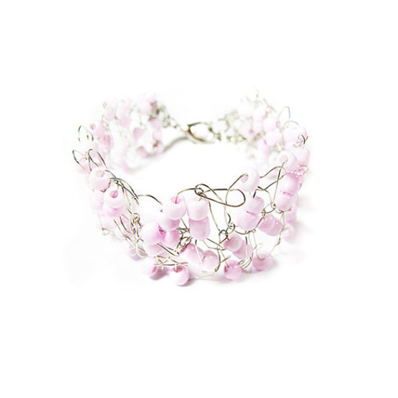 pink jewels jewels pink wire crochet bracelet pink bracelet wire wire bracelet womens accessory wire crochet jewelry wedding wedding jewelry cuff Wire Wrapped beaded bracelet Beaded beaded wire bead crochet wire crochet bracelet with pink beads silver plated wire bracelet jewelry