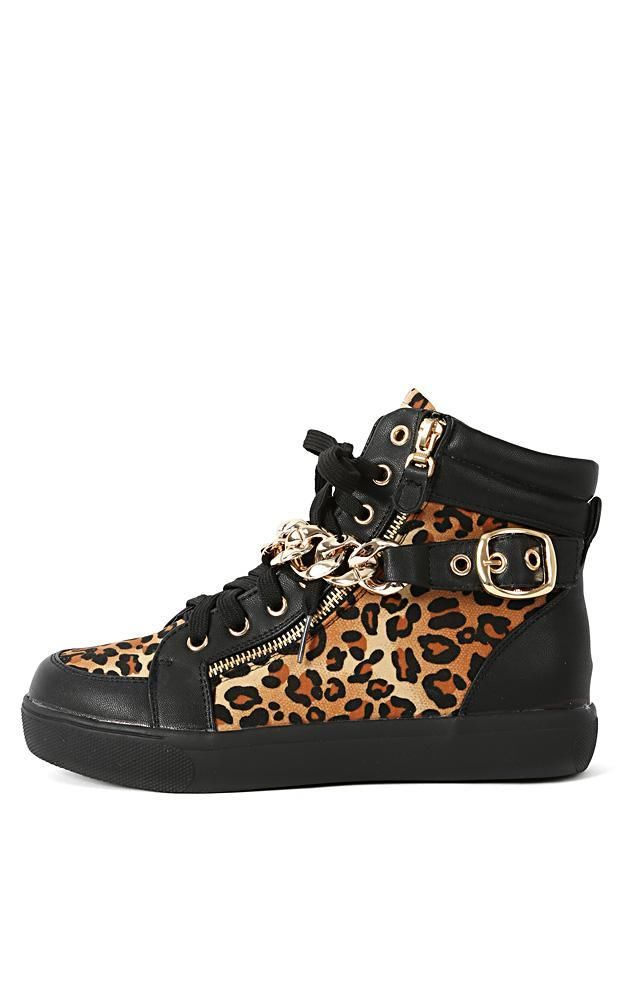 Trendy Liliana Sneaker 25 Leopard Chain Sneakers Black Tan Brown