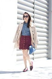 it's not her it's me,blogger,coat,top,skirt,shoes,bag,sunglasses,red loafers,scalloped,suede skirt,spring outfits