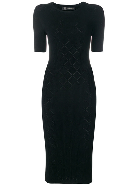 VERSACE dress women black knit