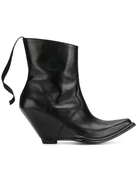 Unravel Project heel women ankle boots leather black shoes