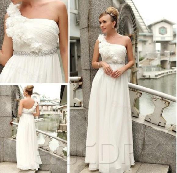wedding dress white dress one-shoulder dress modern dress long chiffon prom dress sleeveless dress unique prom dress