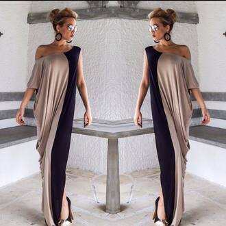 dress long dress cotton sunglasses cappuccino cappucino black and beige earrings