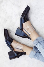 shoes,our favorite accessories 2015,cut-out,transparent,see through,clear,transparent shoes,black,black shoes,cut out shoes,cut out ankle boots,shiny,booties,minimalist,minimalist shoes,patent shoes