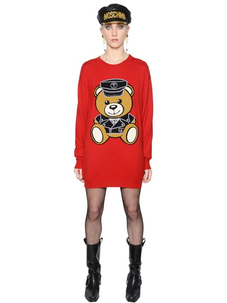 dress sweater dress bear red