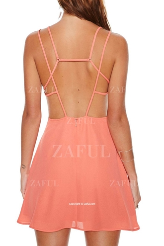 dress zaful backless mini dress high neck strappy summer summer dress hipster hippie girly salmon pink cute pretty trendy streetstyle