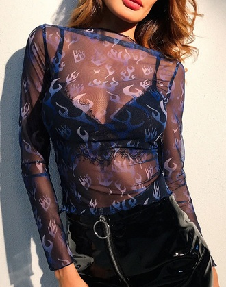 blouse girly see through see through top sheer sheer blouse long sleeves blue flames mesh