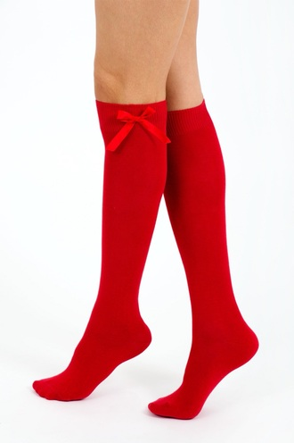 socks red sock bows knee high